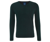Pullover, Feinstrick, Baumwolle, V-Ausschnitt, Logo-Stickerei