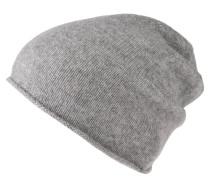 Mütze, Kaschmir, Rollsaum, meliert, Logo-Emblem