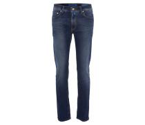 Jeans-Hose, Used-Waschung, gerader Schnitt, 5-Pocket-Stil