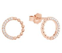 Damen-Ohrringe mit Zirkonia rosévergoldet