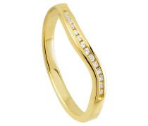 Diamant-Ring Gelb 375, zus. ca. 0,09 ct.
