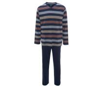 Schlafanzug, lang, gestreift, bügelfrei, atmungsaktiv