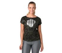 T-Shirt, Allover-Print, Glitzer-Detail, Ärmel-Umschlag