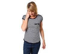 T-Shirt, Streifen, Knopf-Details, Umrisslinien, angeschnittene Ärmel