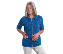 T-Shirt, Bio-Baumwolle, florales Muster, Reißverschluss, Anhänger
