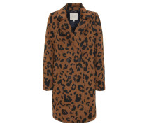 Mantel, Leoparden-Muster, Reverskragen, Woll-Anteil