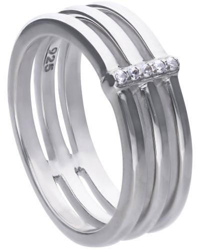 Ring  mit weißen Zirkonia-Steinen und verschiedenen Ringschienen 6121061082180