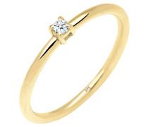 Ring Verlobungsring Diamant 0.03 Ct. 375 Gelbgold