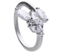 Modischer Ring  mit weißen -Zirkonia und offener Ringschiene 6120151082180