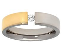 Titan Ring, Zirkonia-Stein, poliert