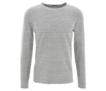 Pullover, Feinstrick, meliert, Rollsaum, Baumwolle