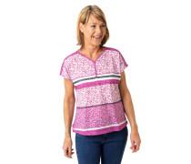 T-Shirt, Allover-Print, Streifen-Details, überschnittene Schulter