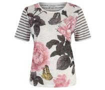 T-Shirt, Ausbrenner-Optik, gestreift, floraler Print