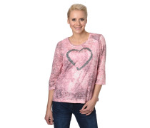 Shirt, 3/4-Arm, Strass-Besatz, Rundhalsausschnitt, Herz-Motiv