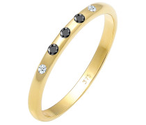 Ring Bandring Weiß Schwarz Diamant (0.10 Ct) 375