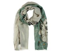 Schal, Glitzer-Look, florales Muster, Fransen