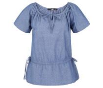 Blusenshirt, Kurzarm, Baumwolle, Split-Neck, Taillen-Schnürung