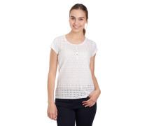 T-Shirt, florale Stickereien, Loch-Muster, Knopfleiste