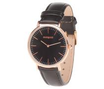 Armbanduhr, Lederband, analog, Strichindizes