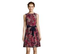 Chiffonkleid, florales Design, Gürtel, ärmellos