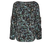 Bluse, Satin-Optik, offene Schulter, florales Design