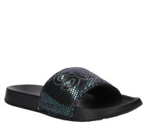 Slides, Schriftzug, schimmernd, ergonomisches Fußbett