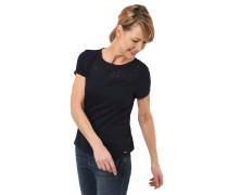 T-Shirt, Flammgarn, Blumen-Stickerei, Loch-Muster, uni