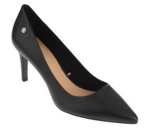 "Pumps ""Pointed Mid Heel Pump"", spitz, Leder, Logo-Emblem"