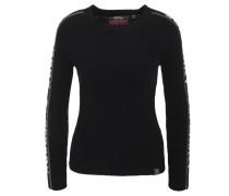 Pullover, Strick, Label-Schriftzug, Ripp-Muster, uni, Patch