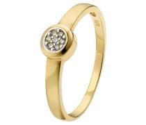 Diamant-Ring  375, zus. ca. 0,04 ct