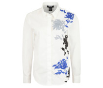 Hemdbluse, floraler Print, Ärmelriegel, leicht transparent