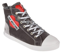 Sneaker, Samt, Logo-Patches, Reißverschluss