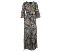 Maxikleid, 3/4-Arm, Tropical Print, Volants