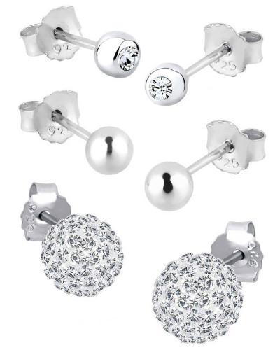 Ohrringe 3er Set Swarovski® Kristalle 925 Silber