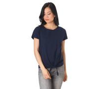 T-Shirt, Knoten-Detail, florale Stickerei, Baumwolle