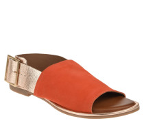 Sandalen, Veloursleder, Metallic-Look, Schnalle