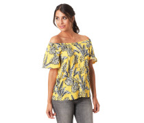 T-Shirt, Carmen-Ausschnitt, Blätter-Print, Kimono-Ärmel