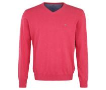 Pullover, Strick, V-Ausschnitt, Logo-Stickerei, meliert