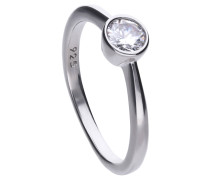 Solitär-Ring  mit weißem -Zirkonia und Zargen-Fassung 6118111582170