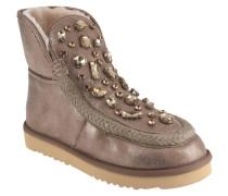 Boots, gefüttert, Schmucksteine, Flecht-Details
