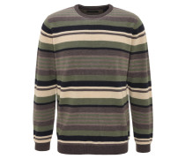 Pullover, gerippte Baumwolle, Streifen, Rundhals