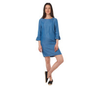 Kleid, 3/4-Arm, Jeans-Look, Volant-Ärmel, leicht tailliert
