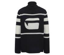 Pullover, Rollkragen, Streifen, Logo