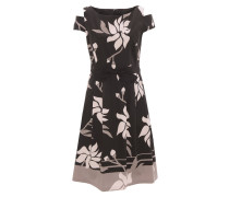 Cocktailkleid, floraler Print, Cold-Shoulder, Schleife