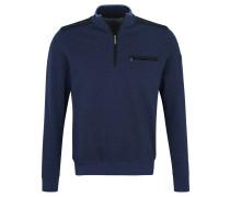 Sweatshirt, Brusttasche, Troyer-Kragen, Kontrast-Einsätze, meliert