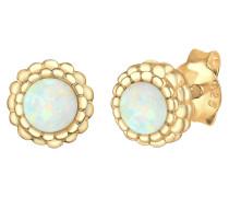 Ohrringe Geo Kreis Vintage Opal Blüte 925 Sterling Silber