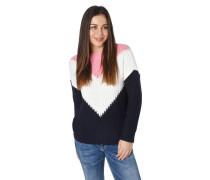 Pullover, Grobstrick, Stehkragen, mehrfarbig, Ripp-Abschlüsse