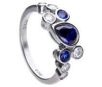 Cluster-Ring  mit weißen und blauen -Zirkonia 6121081100180