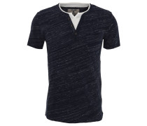 T-Shirt, Split-Neck, Brusttasche, meliert
