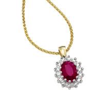 Kette mit Diamant-Anhänger und Rubin Gold 375, zus. ca. 0